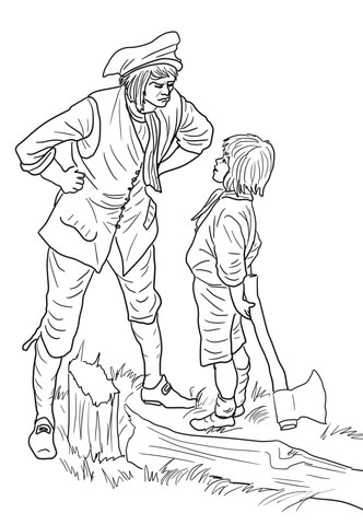 george-washington-and-the-cherry-tree-coloring-page
